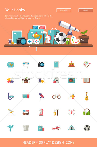 Header with modern flat design hobby icons and infographics elem Stock photo © Decorwithme