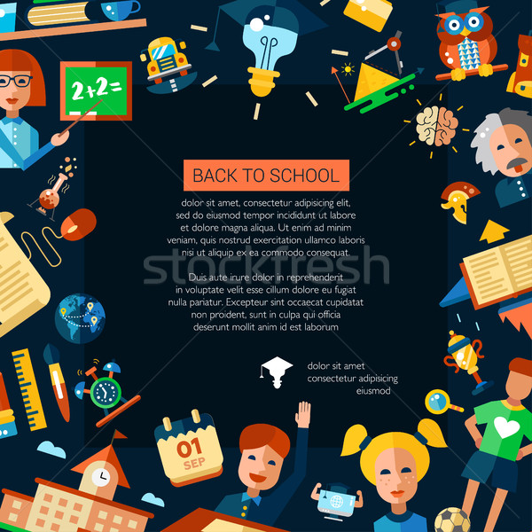 Flyer tempalte of school, college flat design icons and infograp Stock photo © Decorwithme