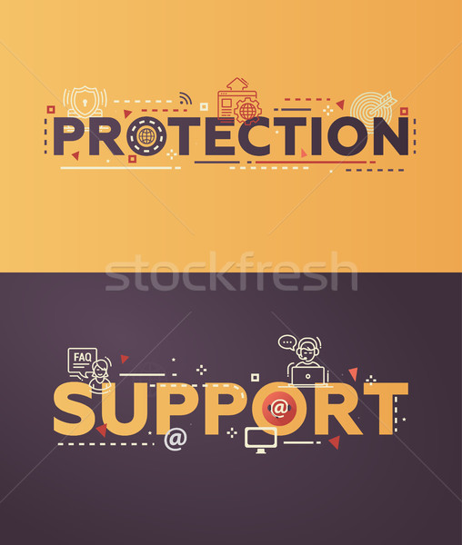Modern flat design Protection, Support lettering with business line icons Stock photo © Decorwithme