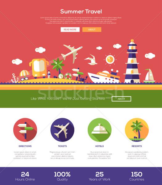 Nyár utazás weboldal fejléc szalag webdesign Stock fotó © Decorwithme