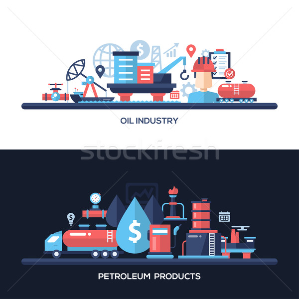 Flat design oil and gas industry website headers banners set Stock photo © Decorwithme
