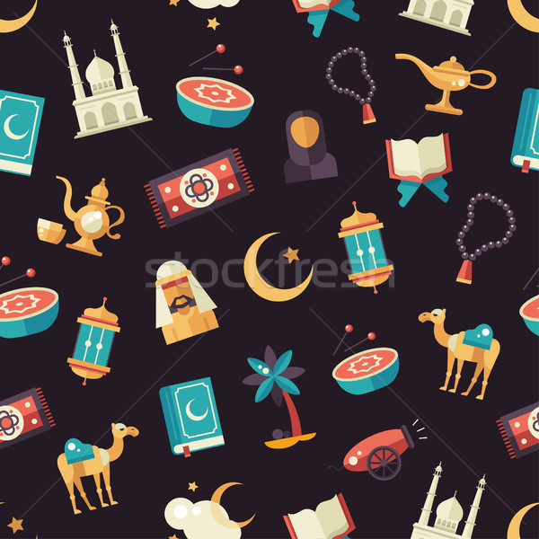 Seamless pattern with islamic culture icons Stock photo © Decorwithme