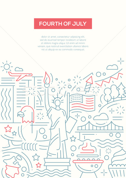 Independence Day - line design brochure poster template A4 Stock photo © Decorwithme