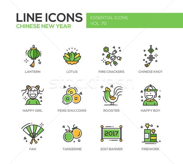 Año nuevo chino línea diseno establecer moderna Foto stock © Decorwithme