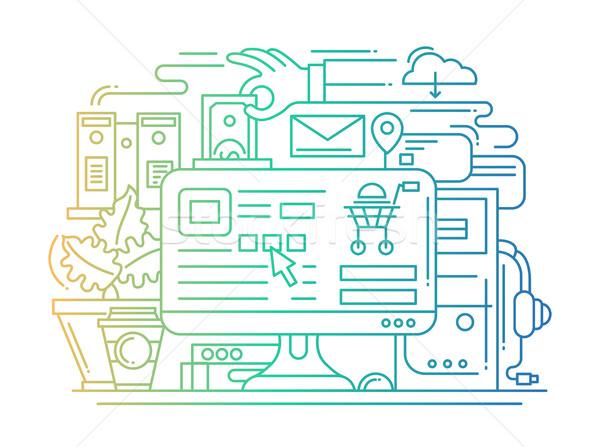 Stock photo: Online shopping process line flat design banner with desktop.