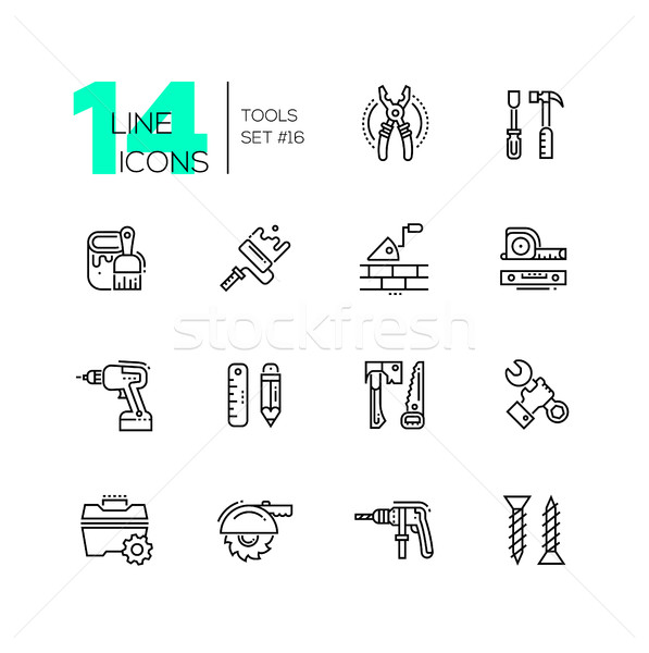 Tools - modern single line icons set Stock photo © Decorwithme