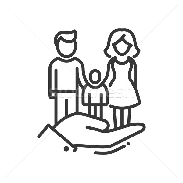 Here is a Family - vector modern line design icon Stock photo © Decorwithme