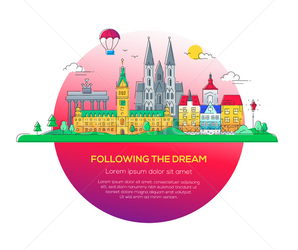 Following the dream - vector line travel illustration Stock photo © Decorwithme