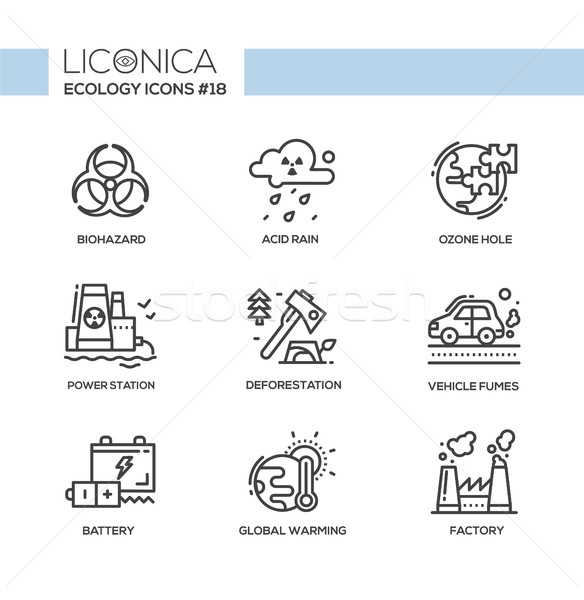 Ecology - black and white modern single line icons set Stock photo © Decorwithme