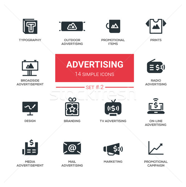 Advertising - modern simple icons, pictograms set Stock photo © Decorwithme