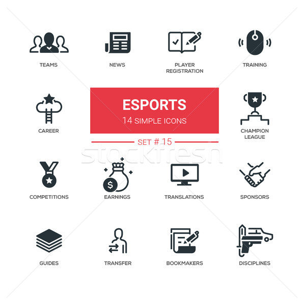eSports - Modern simple thin line design icons, pictograms set Stock photo © Decorwithme
