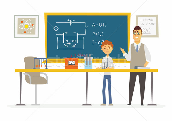 Science lesson at school - modern cartoon people characters illustration Stock photo © Decorwithme