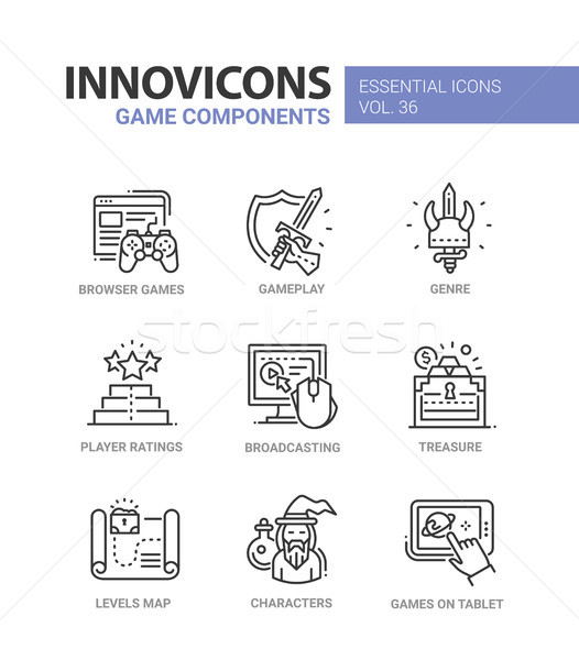 Game Components - modern vector line design icons set. Stock photo © Decorwithme