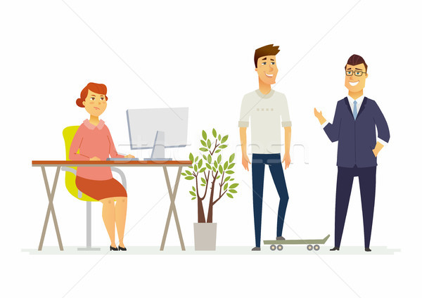 Stock photo: Frowned woman in the office - modern cartoon people characters illustration