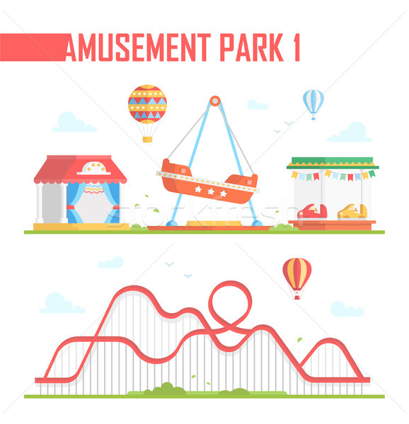 Set of amusement park elements - modern vector illustration Stock photo © Decorwithme
