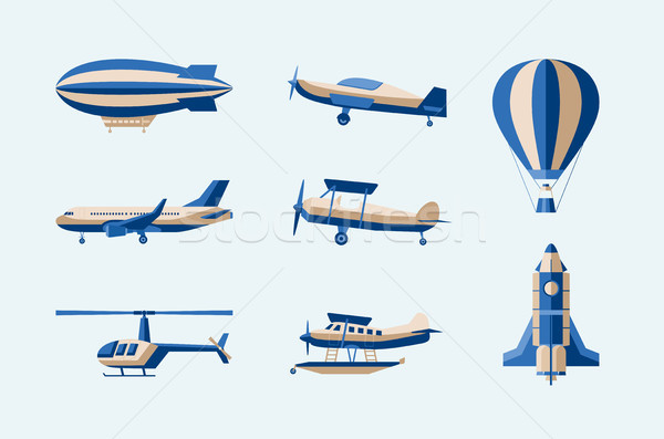 Aircraft - modern vector isolated set of objects Stock photo © Decorwithme