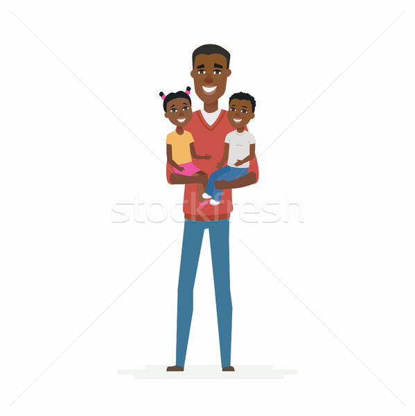 Young African father with babies - cartoon people characters isolated illustration Stock photo © Decorwithme