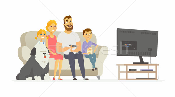 Boldog család néz tv modern rajzolt emberek betűk Stock fotó © Decorwithme