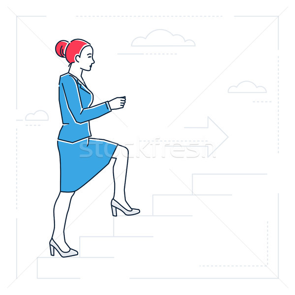 деловая женщина скалолазания лестнице линия дизайна стиль Сток-фото © Decorwithme