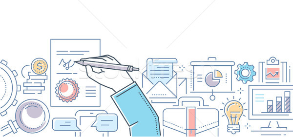 Signing a contract - modern line design style illustration Stock photo © Decorwithme