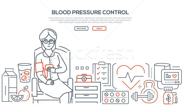 Bloeddruk controle moderne lijn ontwerp stijl Stockfoto © Decorwithme