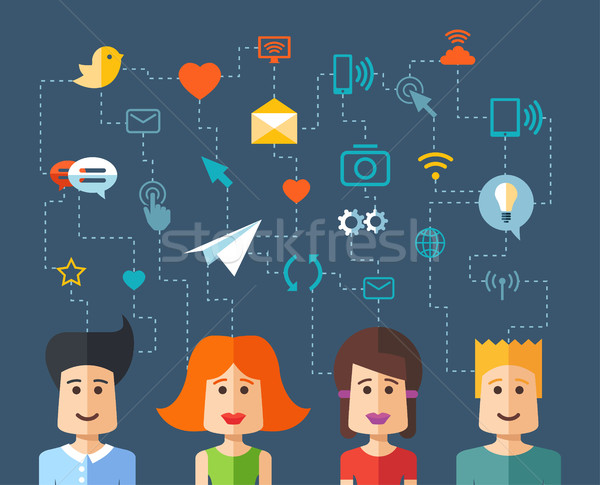 Illustration of isolated flat design people social network compo Stock photo © Decorwithme