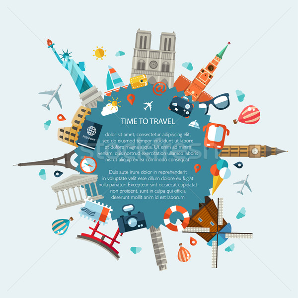 Illustration of flat design travel composition with famous world Stock photo © Decorwithme