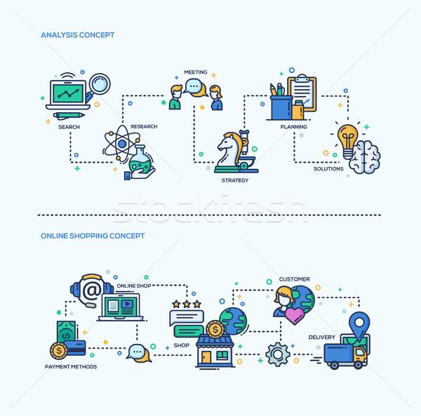 Analyse online winkelen iconen business composities ingesteld Stockfoto © Decorwithme