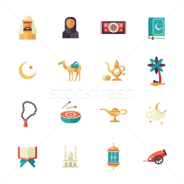 Islamic culture icons set Stock photo © Decorwithme