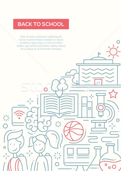 School, education line design composition Stock photo © Decorwithme