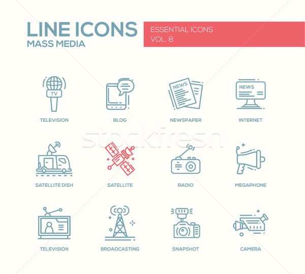 Mass Media line design icons set Stock photo © Decorwithme