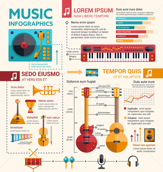 Ilustration of different music insruments template. Flat infographic design Stock photo © Decorwithme