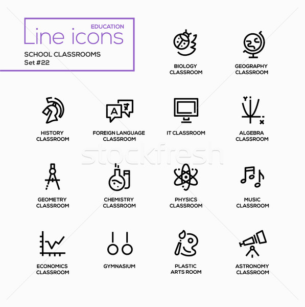 School Classrooms - modern vector single line icons set. Stock photo © Decorwithme