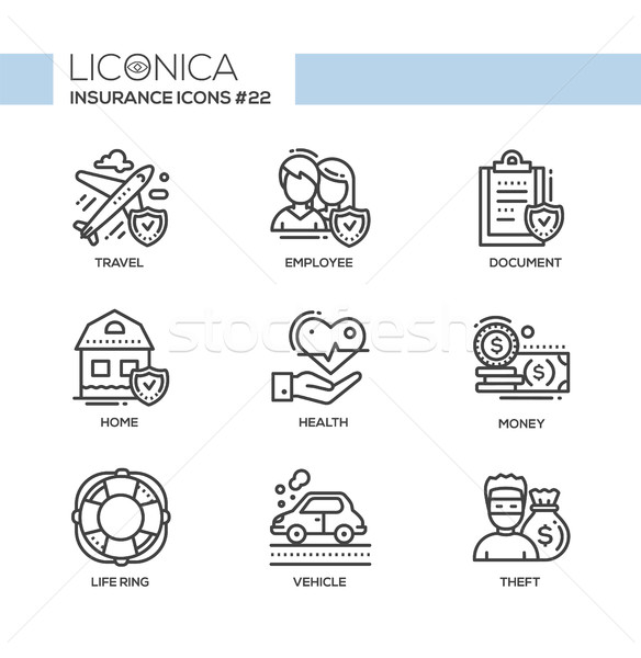 Insurance - monochromatic modern single line icons set Stock photo © Decorwithme