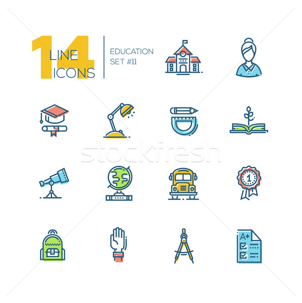School and Education - thick line icons set Stock photo © Decorwithme