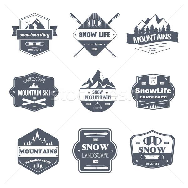 Wintersport vintage vector ingesteld logos sjabloon Stockfoto © Decorwithme