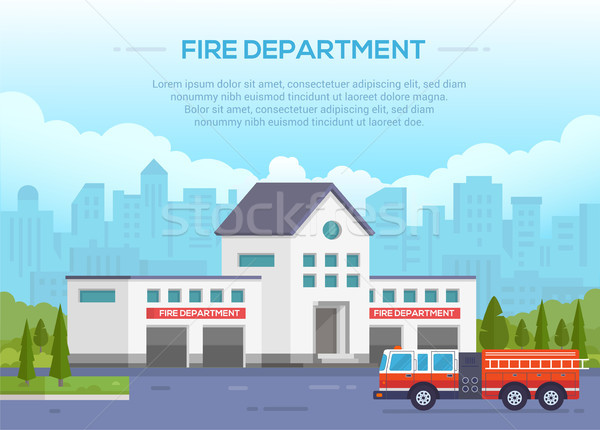 Fire department - modern vector illustration with place for text Stock photo © Decorwithme