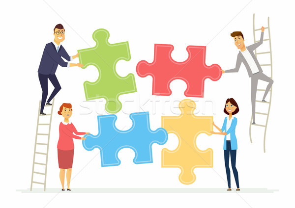 Teamwork and cooperation for business - modern cartoon people characters illustration Stock photo © Decorwithme