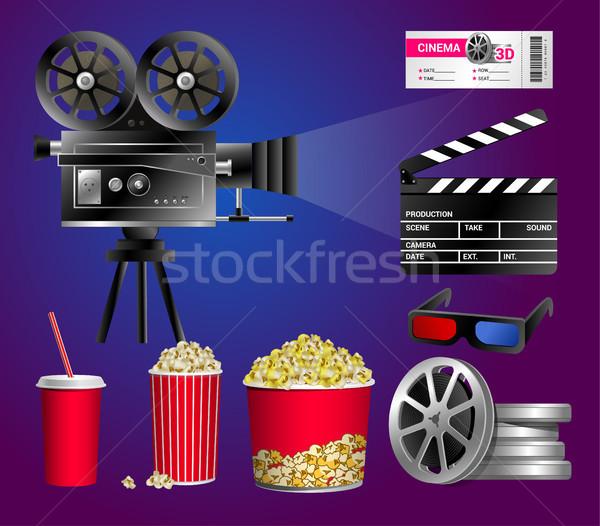 Cinéma objets modernes vecteur réaliste Photo stock © Decorwithme