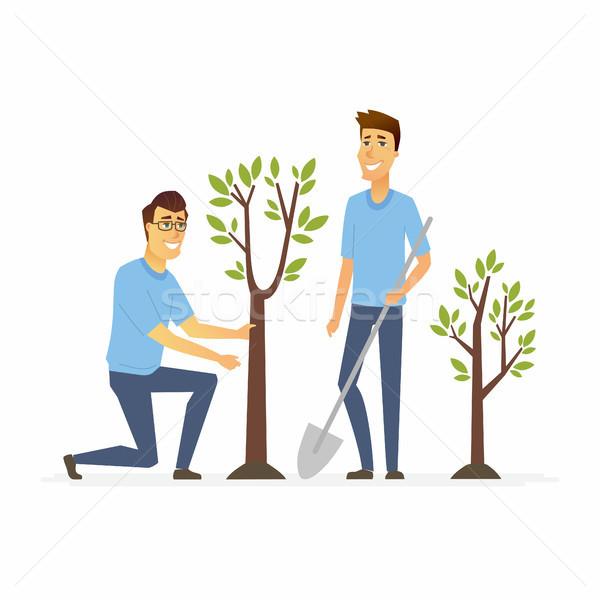 Voluntarios planta árboles aislado Foto stock © Decorwithme