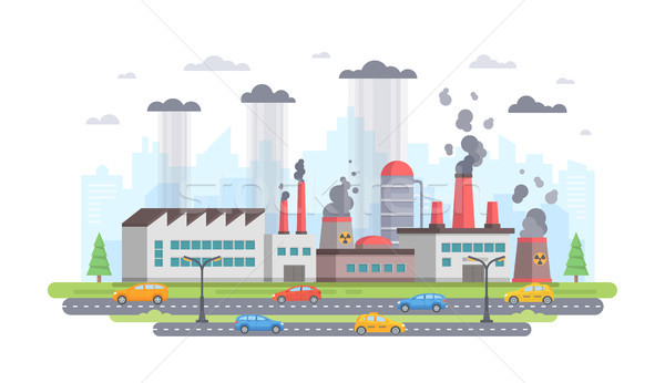 Air pollution - modern flat design style vector illustration Stock photo © Decorwithme