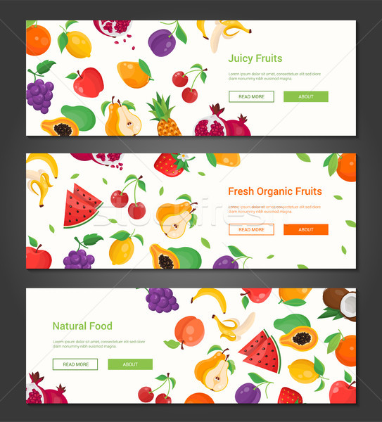 Natural food - set of modern colorful vector illustrations Stock photo © Decorwithme