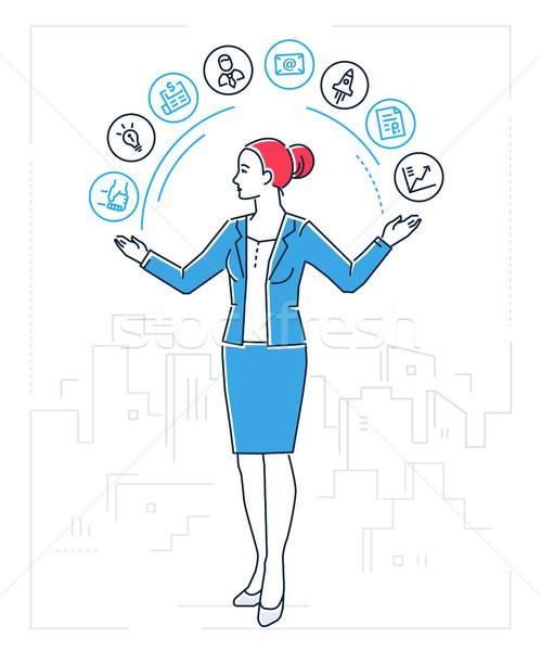 Multitasking - line design style isolated illustration Stock photo © Decorwithme