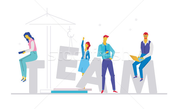 Team - flat design style colorful illustration Stock photo © Decorwithme