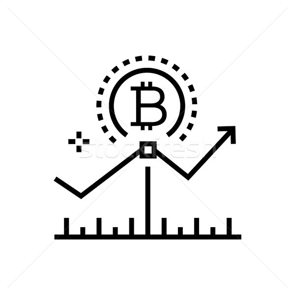 Bitcoin, growth rates - line design single isolated icon Stock photo © Decorwithme