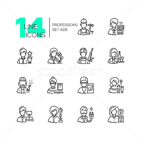 Professions ligne design style icônes Photo stock © Decorwithme