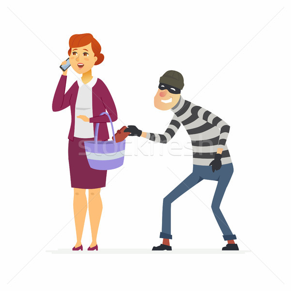 Thief stealing wallet - cartoon people characters illustration Stock photo © Decorwithme