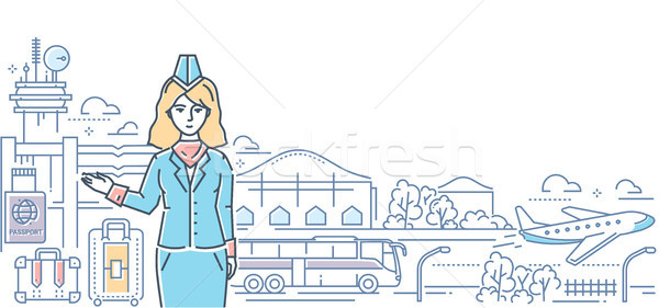 Airport - modern line design style colorful illustration Stock photo © Decorwithme