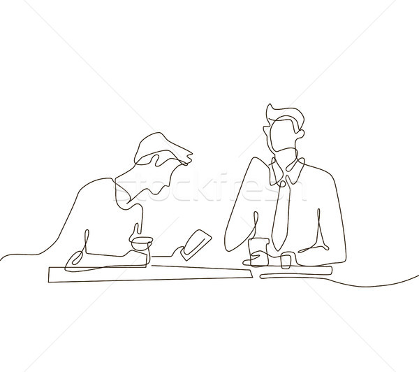 Coffee break - one line design style illustration Stock photo © Decorwithme