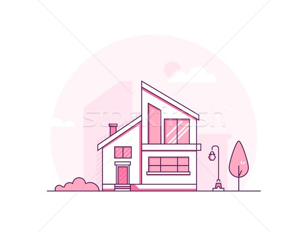 Cottage house - modern thin line design style vector illustration Stock photo © Decorwithme